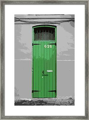 Colorful Arched Doorway French Quarter New Orleans Color Splash Black And White With Cutout Framed Print by Shawn O'Brien