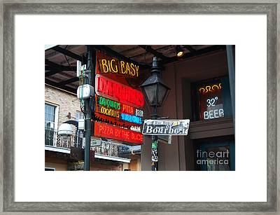 Colorful Big Easy Neon Sign On Bourbon Street Corner French Quarter New Orleans Framed Print by Shawn O'Brien