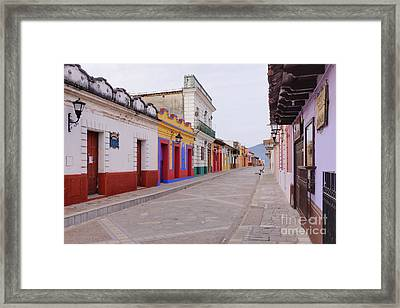 Colorful Buildings On Street Framed Print by Jeremy Woodhouse