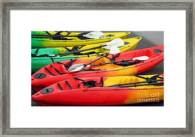 Colorful Canoes Framed Print by Yali Shi