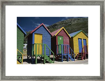 Colorful Changing Huts Line A South Framed Print by Tino Soriano