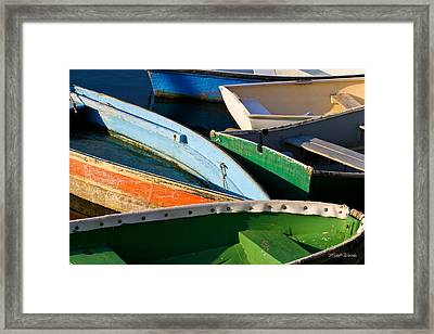 Colorful Dinghies In Rockport Massachusetts Framed Print by Michelle Wiarda