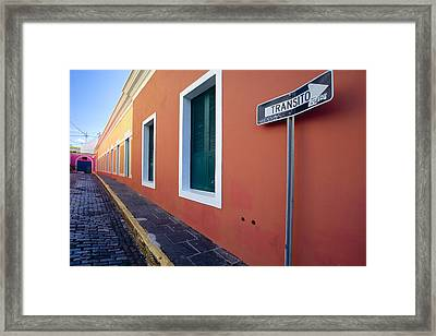 Colorful Narrow Street With A Sign Framed Print by George Oze