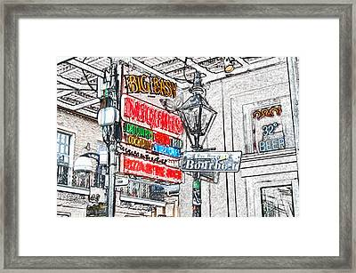 Colorful Neon Sign On Bourbon Street Corner French Quarter New Orleans Colored Pencil Digital Art Framed Print by Shawn O'Brien