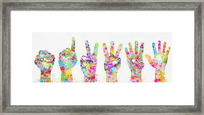 Colorful Painting Of Hands Number 0-5 Framed Print by Setsiri Silapasuwanchai
