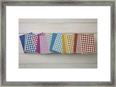 Colorful Pattern Of Notebooks Framed Print by Mark Lund