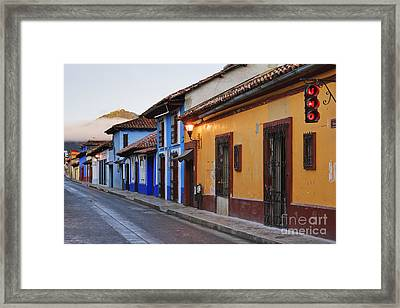 Colorful Street At Sunrise Framed Print by Jeremy Woodhouse