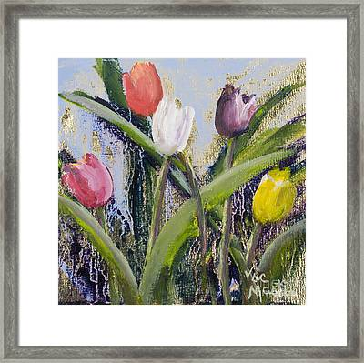Colorful Tulip Series Framed Print by Vic  Mastis