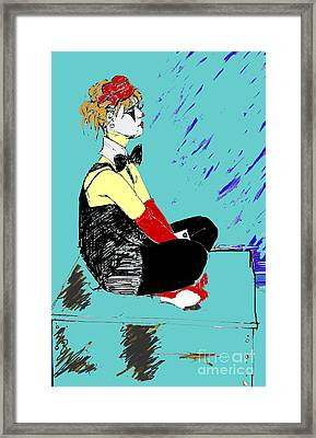 Coloured Clown Framed Print by Joanne Claxton