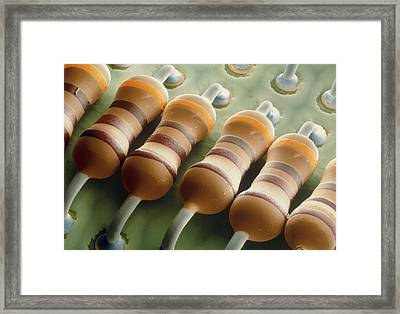 Coloured Sem Of Resistors On A Circuit Board Framed Print by Power And Syred