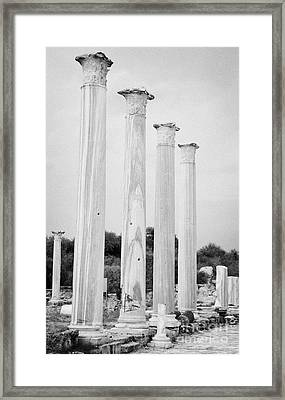 Columns In The Central Courtyard And Stoa Gymnasium And Baths In The Ancient Site Of Salamis Framed Print by Joe Fox