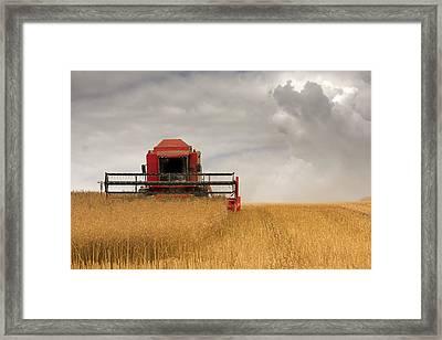 Combine Harvester, North Yorkshire Framed Print by John Short