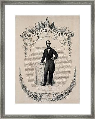 Commemorative Print Of Abraham Lincoln Framed Print by Everett