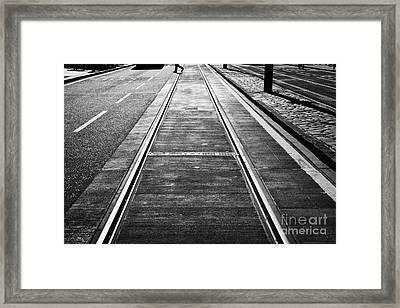 Completed Tram Rails On Princes Street Edinburgh Scotland Uk United Kingdom Framed Print by Joe Fox