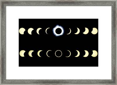 Composite Time-lapse Images Of Solar Eclipses Framed Print by Dr Fred Espenak