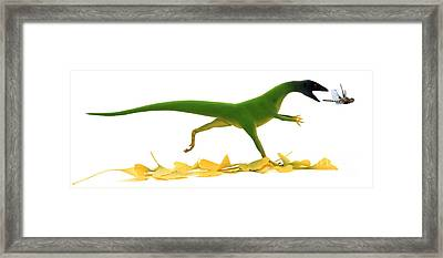 Compsognathus Framed Print by Jane Burton and Warren Photographic and Photo Researchers