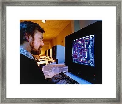 Computer-aided Design Of A Silicon Chip Framed Print by David Parkerseagate Microelectronics Ltd