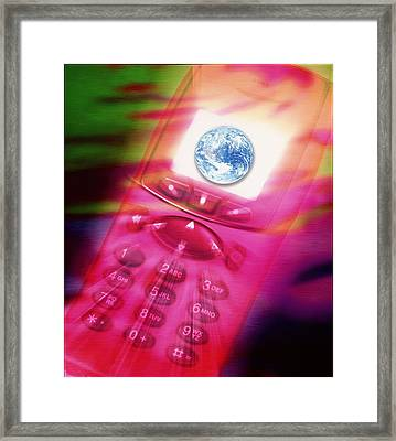 Computer Art Of The Earth Seen On Mobile Telephone Framed Print by Victor Habbick Visions