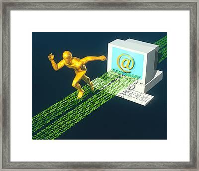 Computer Artwork Of E-mail As A Sprinter Framed Print by Laguna Design