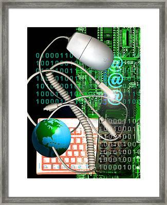 Computer Artwork Of Internet Communication Framed Print by Victor Habbick Visions