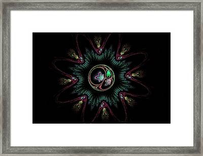 Computer Generated Flower Abstract Fractal Flame Modern Art Framed Print by Keith Webber Jr