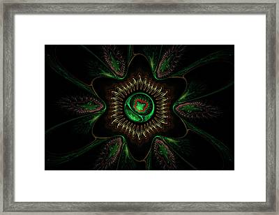 Computer Generated Green Flower Abstract Fractal Flame Modern Art Framed Print by Keith Webber Jr