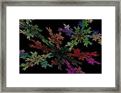 Computer Generated Red Yellow Green Abstract Fractal Flame Modern Art Framed Print by Keith Webber Jr