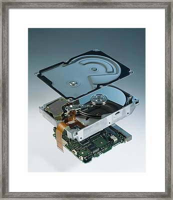 Computer Hard Disk Assembly Framed Print by Sheila Terry