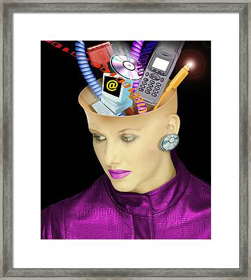 Concept Of A Woman's Head And Communication Framed Print by Victor Habbick Visions