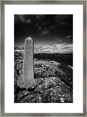 concrete mile marker post originally erected for the RMS titanic speed trials in Belfast Lough Framed Print by Joe Fox