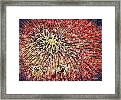 Confluence In Red Framed Print by Paulo Zerbato