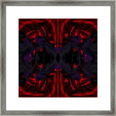 Conjoint - Crimson And Royal. Framed Print by Christopher Gaston