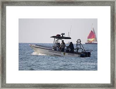 Conservation Patrol Boat In Lake Michigan Framed Print by Christopher Purcell