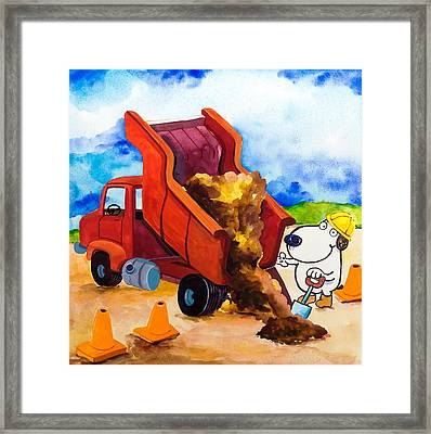 Construction Dogs 4 Framed Print by Scott Nelson