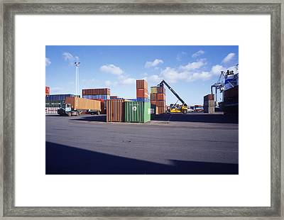 Container Port Framed Print by Carlos Dominguez