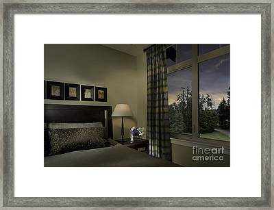 Contemporary Bedroom With Window Framed Print by Robert Pisano