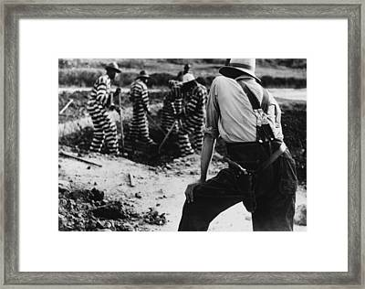 Convict Chain Gang And Prison Guard Framed Print by Everett