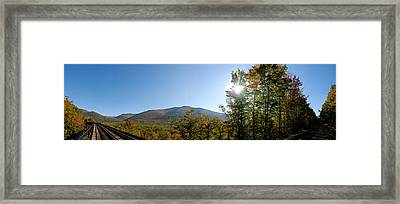 Conway Scenic Railroad  - Longtrack View Framed Print by Geoffrey Bolte