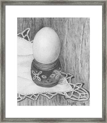Cooked Egg With Napkin Framed Print by Inger Hutton