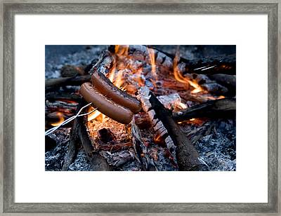 Cooking Hot Dogs Over A Campfire Framed Print by Tim Laman