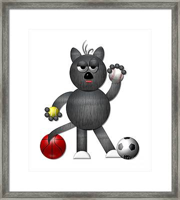 Cool Alley Cat Athlete Framed Print by Rose Santuci-Sofranko