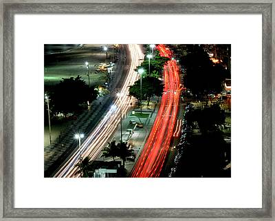 Copacabana At Night Framed Print by Luiz Felipe Castro