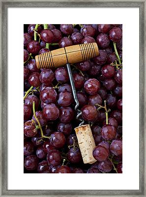 Corkscrew And Wine Cork On Red Grapes Framed Print by Garry Gay