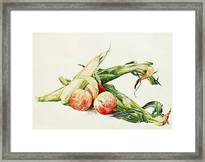 Corn And Peaches Framed Print by Pg Reproductions