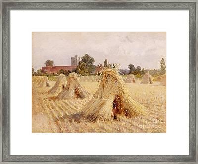Corn Stooks By Bray Church Framed Print by Heywood Hardy