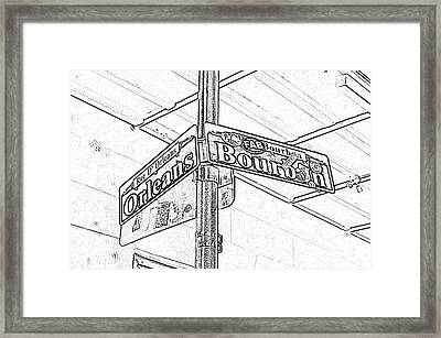 Corner Of Bourbon And Orleans Sign French Quarter New Orleans Black And White Photocopy Digital Art  Framed Print by Shawn O'Brien
