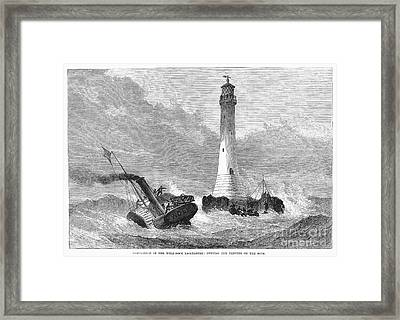 Cornwall: Lighthouse, 1870 Framed Print by Granger