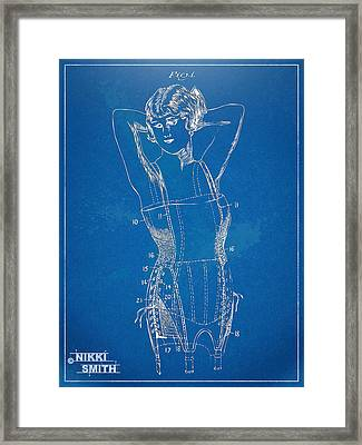 Corset Patent Series 1924 Figure 1 Framed Print by Nikki Marie Smith