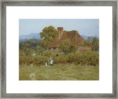 Cottage At Broadham Green Surrey In Sunset Light Framed Print by Helen Allingham