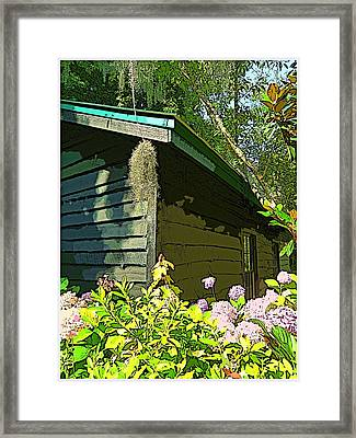 Cottage At Magnolia Plantation Framed Print by Mindy Newman